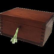 Vintage Wood Dovetailed Locking Keepsake Box & Key