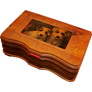 Carved Cedar Mirrored Keepsake Box; Jack Russell Terriers