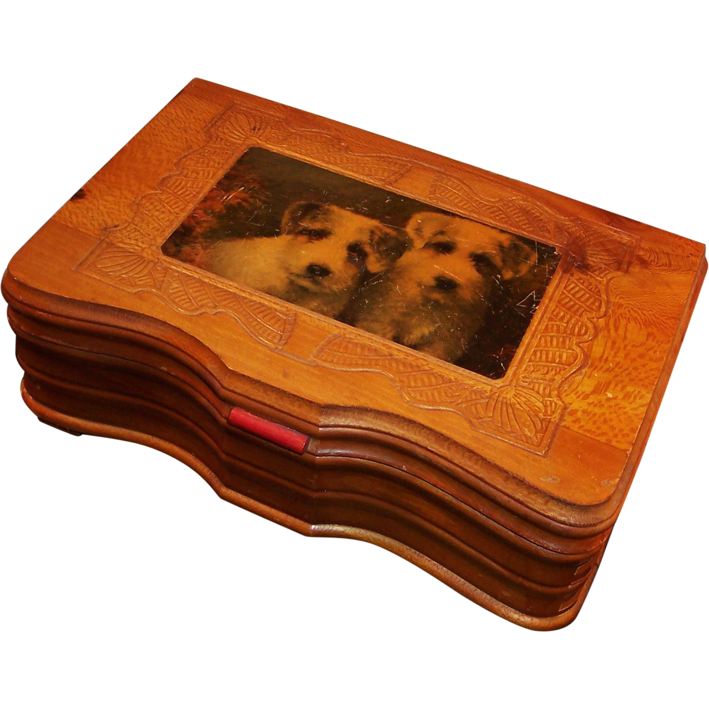 "Carved Wood ""Man"" Box; Jack Russell Terriers"