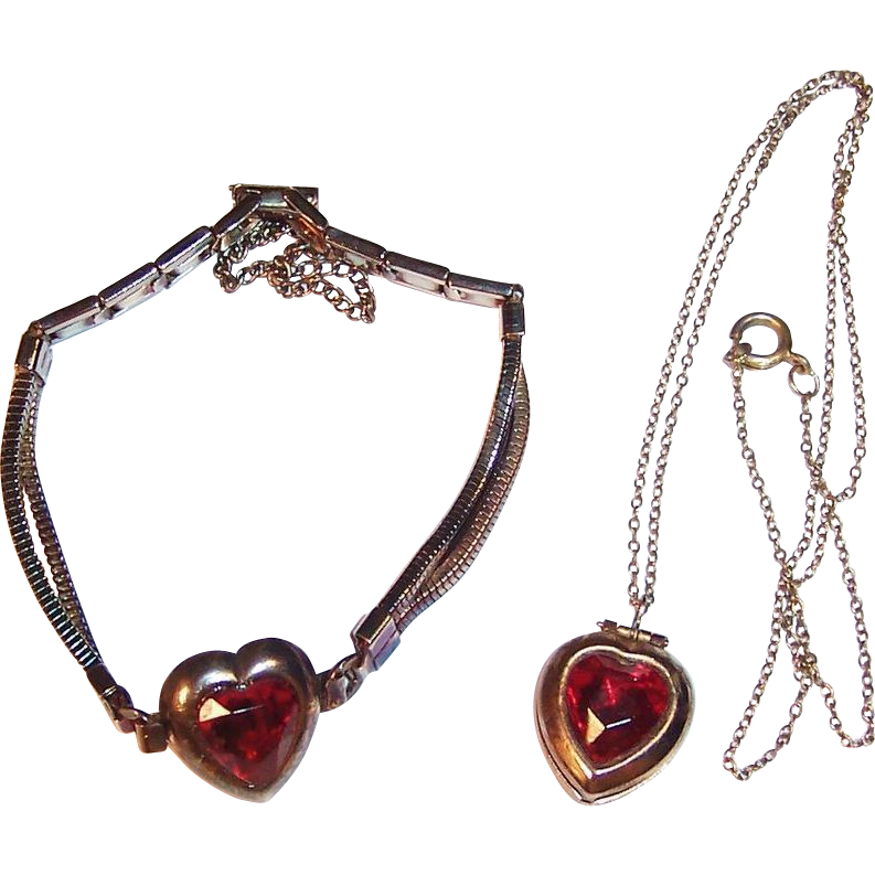 1960'S Little Girl's Golden Heart Locket & Bracelet
