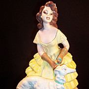 Chalkware Figurine: Victorian Lady & Dog - Red Tag Sale Item