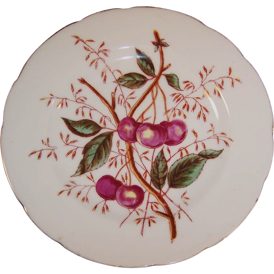 Antique decorative cherry design plate from for Decoration plater