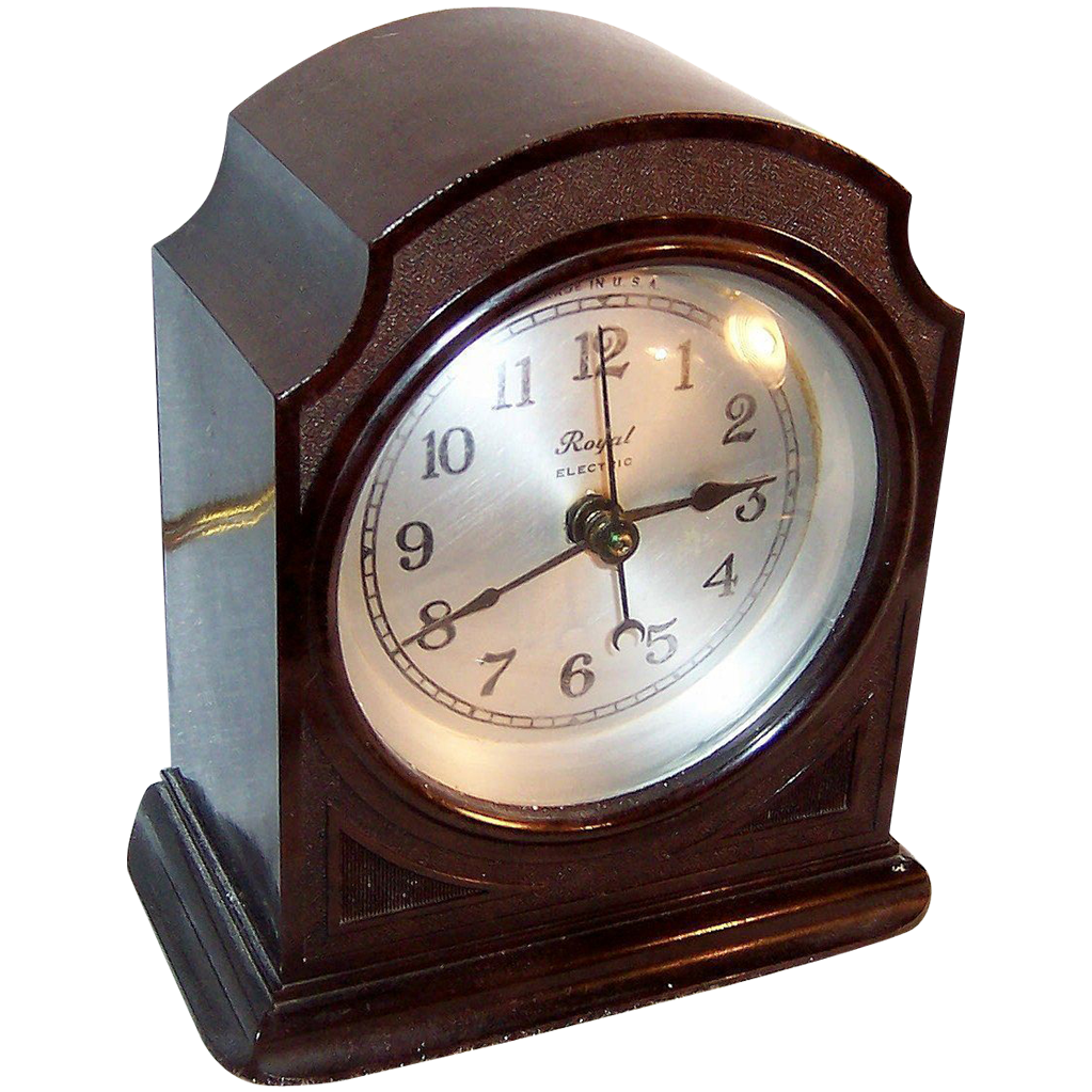 Working! 1930's Art Deco Royal Electric Manual Start (Spin to Start) Clock