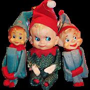 Vintage Pixie Elf Trio (2 Knee Hugger Elves)