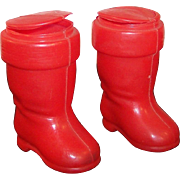 TWO Red Plastic Santa Boot Ornament Candy Containers
