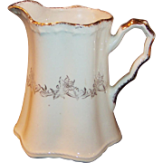 Crooksville Pitcher Gold Floral Pattern
