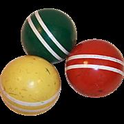 Set of 3 Vintage Croquet Balls Colorful Rustic Decor