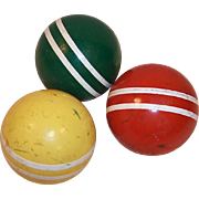 SALE!  Set of 3 Vintage Croquet Balls Colorful Rustic Decor