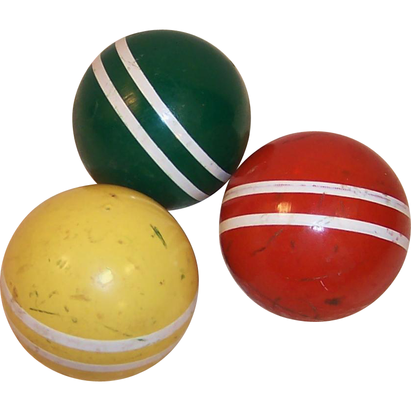 HOT SUMMER SALE!  Set of 3 Vintage Croquet Balls Colorful Rustic Decor