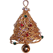 "Vintage 1990's Eisenberg  ""Spun Gold"" Christmas Tree Pin"