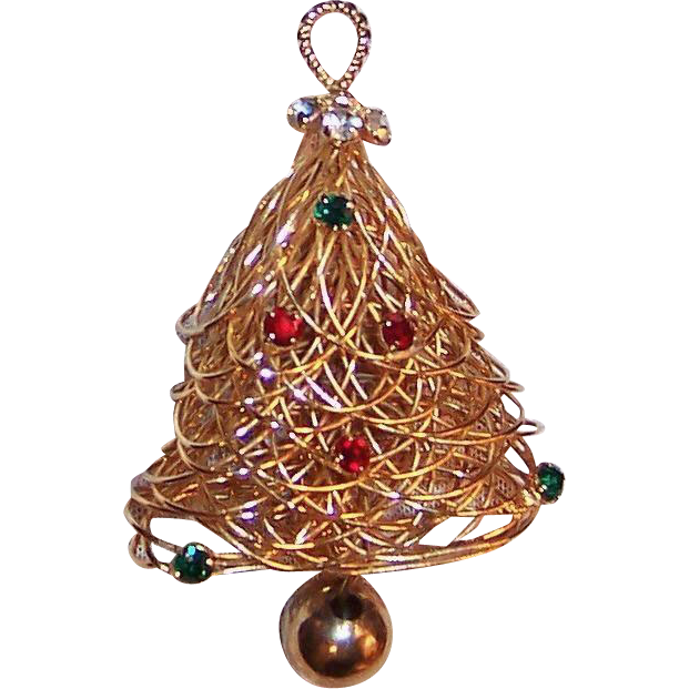 "Vintage 1990's Eisenberg  ""Spun Gold"" Christmas Tree Pin"