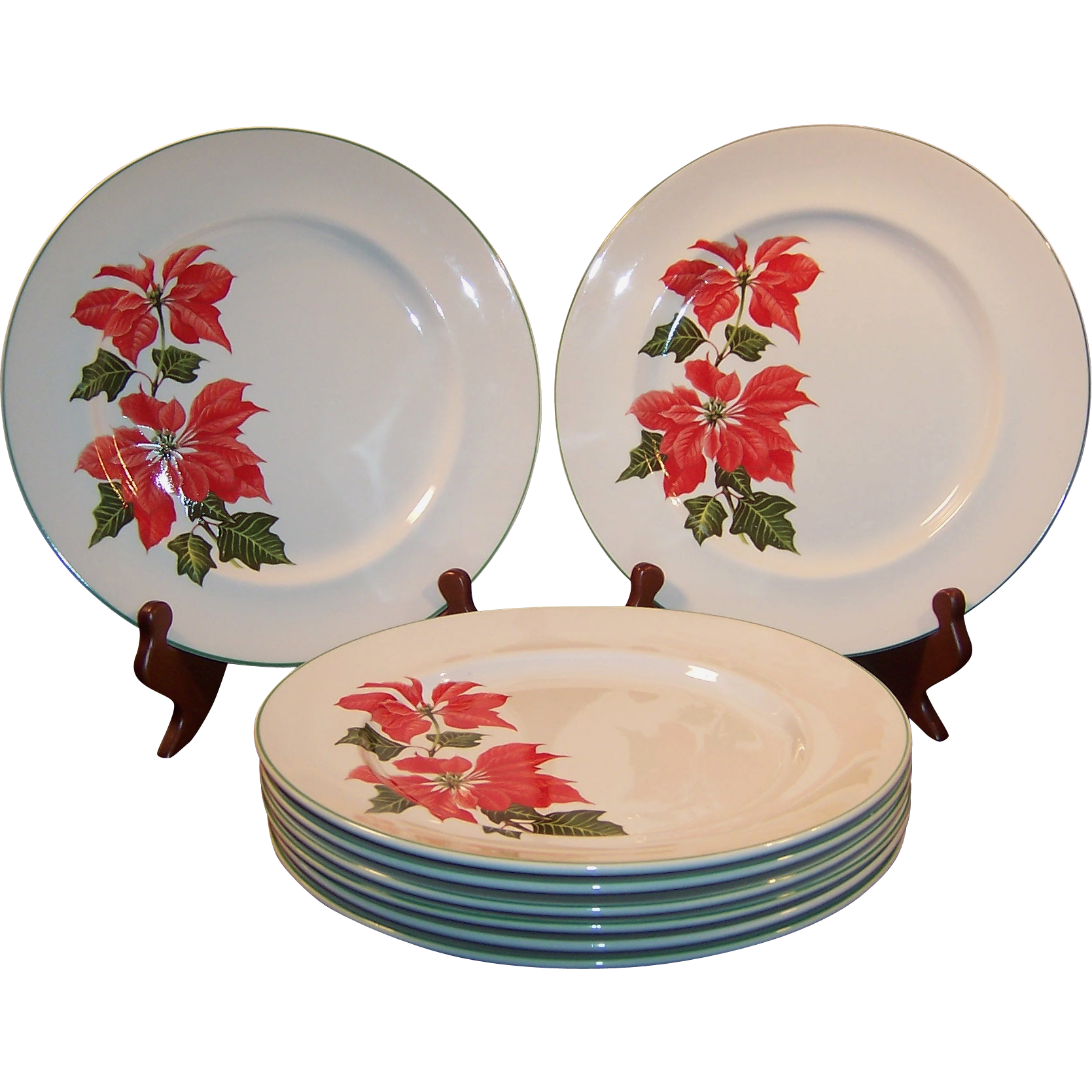 "Sets of FOUR: Cuthbertson Poinsettia 10 1/4"" Dinner Plates (2 Sets Available)"