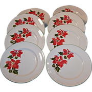 "Set of FOUR: Cuthbertson Poinsettia 8"" Luncheon (or Salad) Plates (Only 1 Set Available Now)"