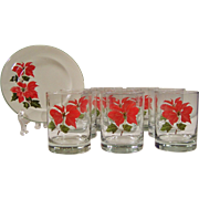 Set of FOUR: Cuthbertson Poinsettia Double Old Fashioned Tumblers (1 Set Available Now)