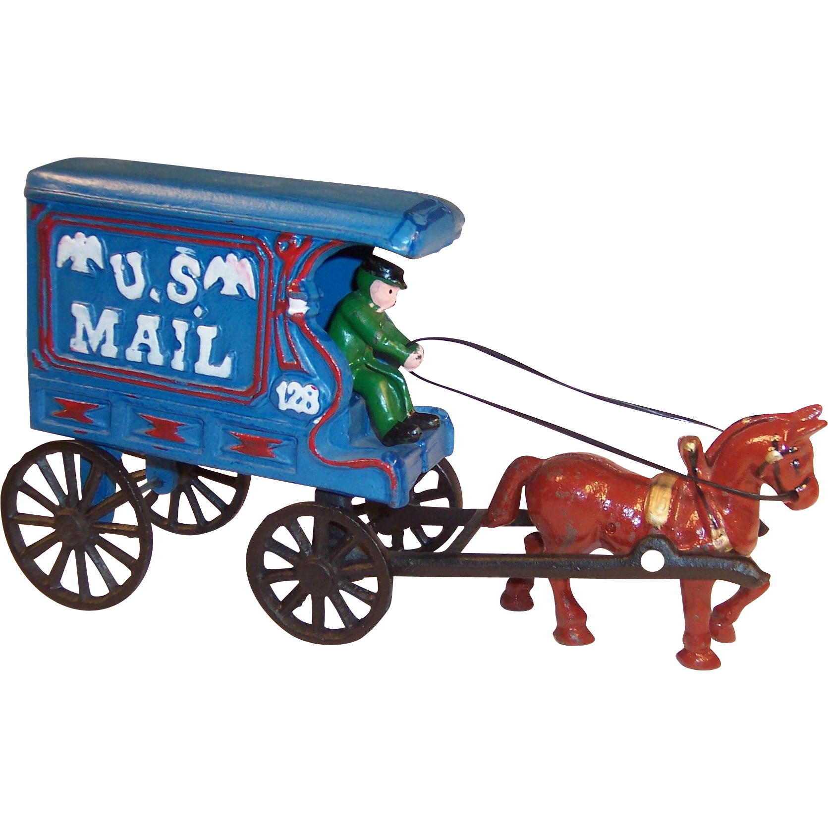 Vintage Cast Iron Replica Horse Drawn Mail Cart