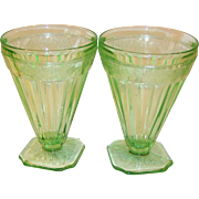 "(2) Jeannette Glass ADAM Footed Tumblers 4 5/8"" Green Depression Glass"