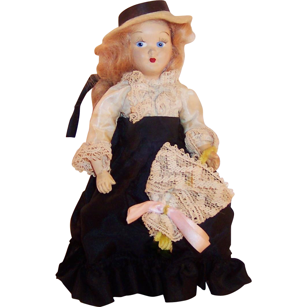 "1950's:  7 3/4""  Virga Gibson Girl Doll ; Hat, Parasol, and Peplum"