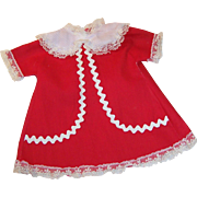 Vintage Red Doll Dress with Rick Rack & Lace