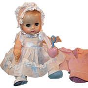 Precious!  Vintage 1950's Vogue Ginnette Doll with WORKING Squeaker; Name Necklace, Rattle, Dress, Coat, 2 Bonnets, Diaper, Shoes & Socks