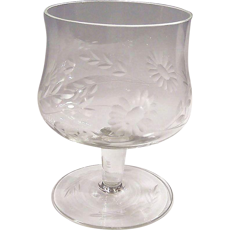 (SET of 10) Crystal Clear Etched Goblets