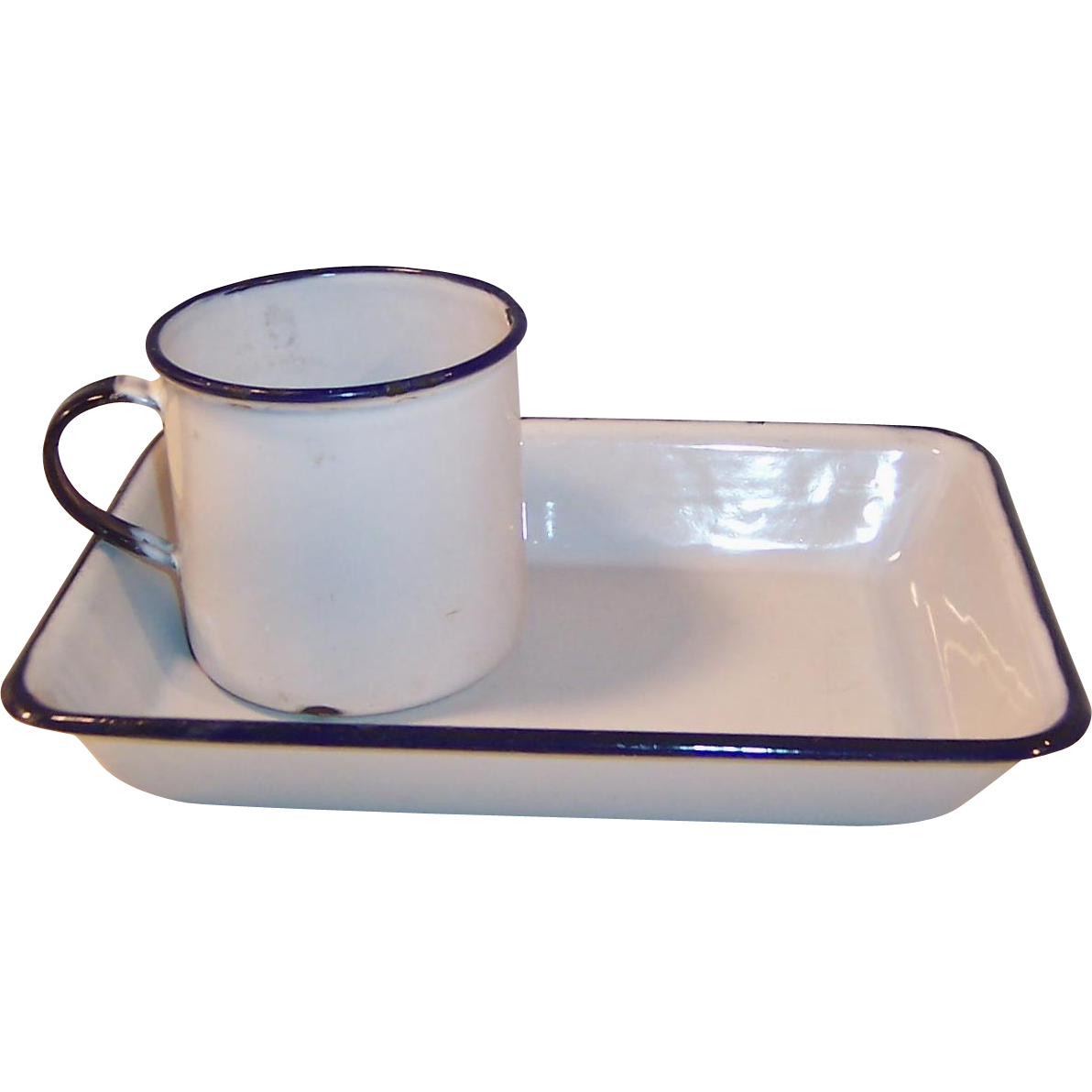 Swedish Blue & White Enamelware: Child's Mug and Tray