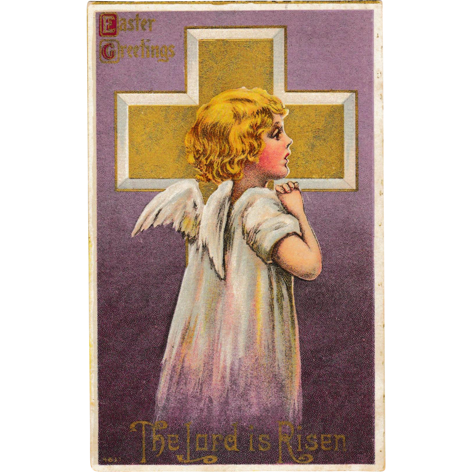 Antique C. 1910 Embossed & Textured Cross Angel Girl Easter Postcard