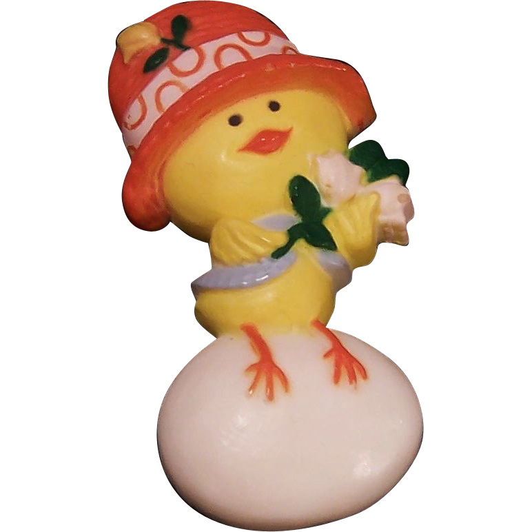 """1970's Hallmark Vintage Easter Chick Pin """"Chickery Chick"""""""