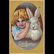 Antique Easter Postcard Peek a Boo Bunny & Girl