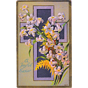 Antique 1910 Easter Lily Cross Postcard