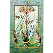 Excellent!  Antique Gottschalk, Dreyfuss & Davis Easter Postcard Fantasy  Rabbit Ribbon Dance