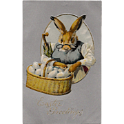 Excellent Antique Easter Postcard Grandma Bunny Rabbit & Basket of Eggs