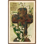 Lily of the Valley & Cross Antique Easter Postcard