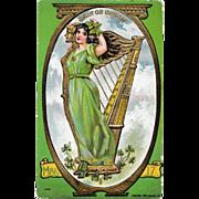 Antique Irish Harp & Lass  P. Sander St. Patrick's Day Postcard