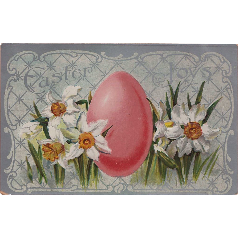 "Vintage ""Easter Joys"" Daffodils and Easter Egg Postcard -- Valentine & Sons Publishing"