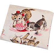 Vintage 1950's Children's Print Kitten and Puppy Dog Cotton Fabric