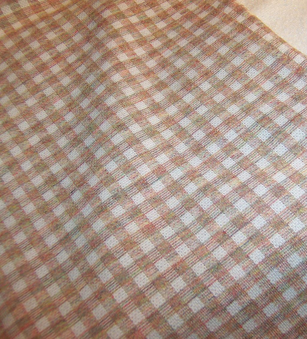 "1 Yard  x 60"" Wide: Vintage  1960's - 70's Tan Checked Polyester"