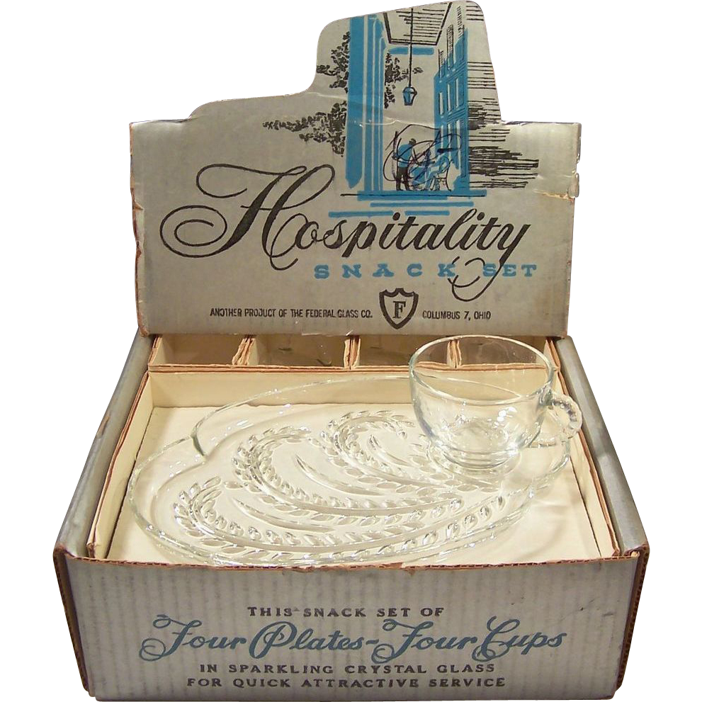 Vintage Federal Glass Hospitality Snack Sets in Original Box