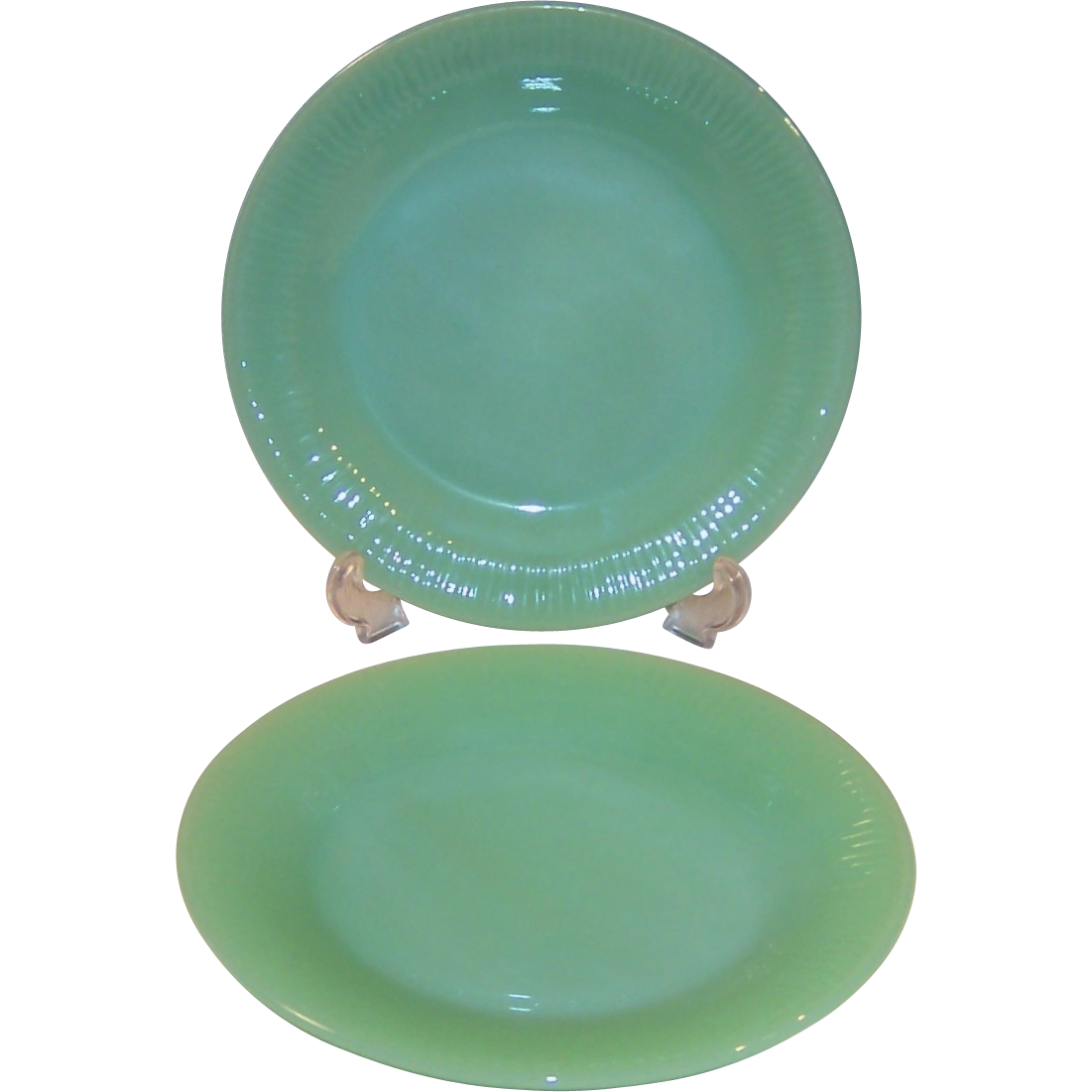 Two fire king jadite jane ray luncheon or salad plates Beautiful plates