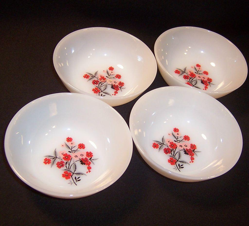 SET of FOUR: Fire King Primrose Fruit Bowls