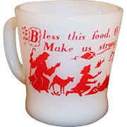 Fire King Prayer Mug