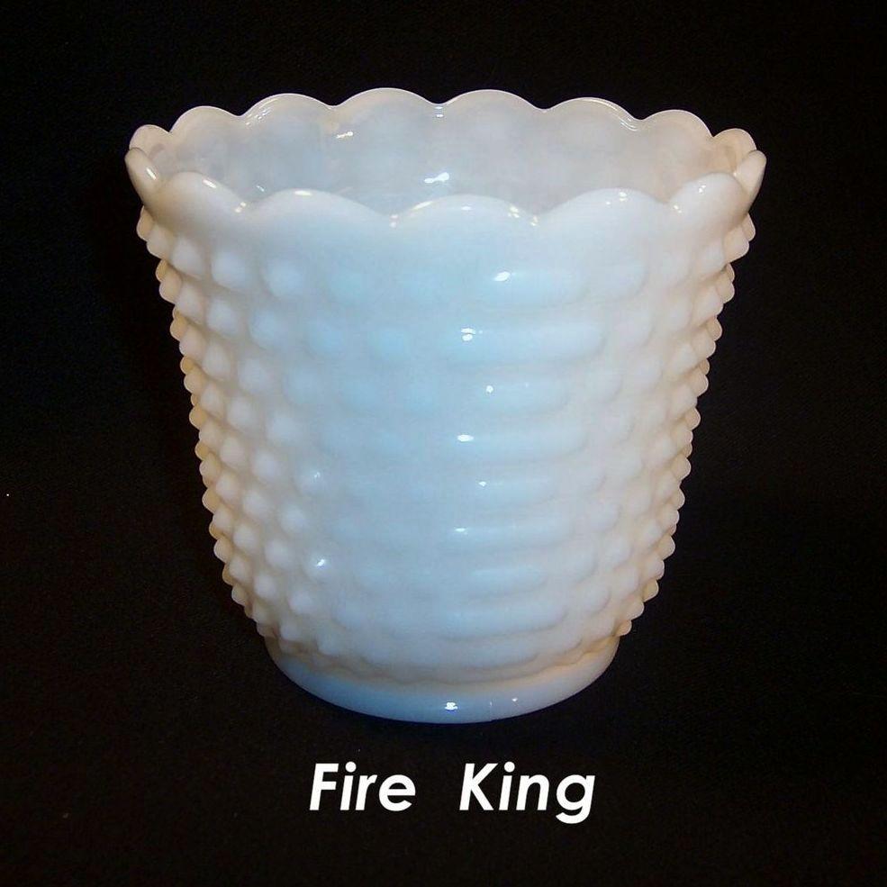 Fire King Hobnail Jardiniere