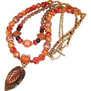 """""""Autumn Splendor"""" OOAK Convertible Two Strand to One Strand Leaf Necklace"""