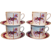 SET of 4: Carousel Horse Teleflora Collectible Cups & Saucers