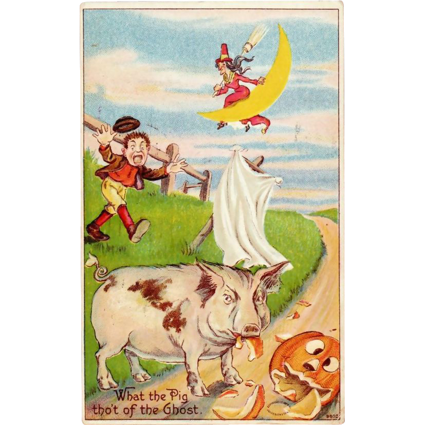 Antique Julius Bien Halloween Postcard 980 Series; No. 9802