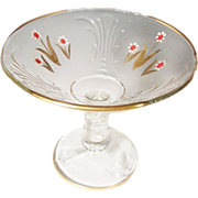SUMMER SALE:  Clear Hand Painted & Gilded Glass Compote