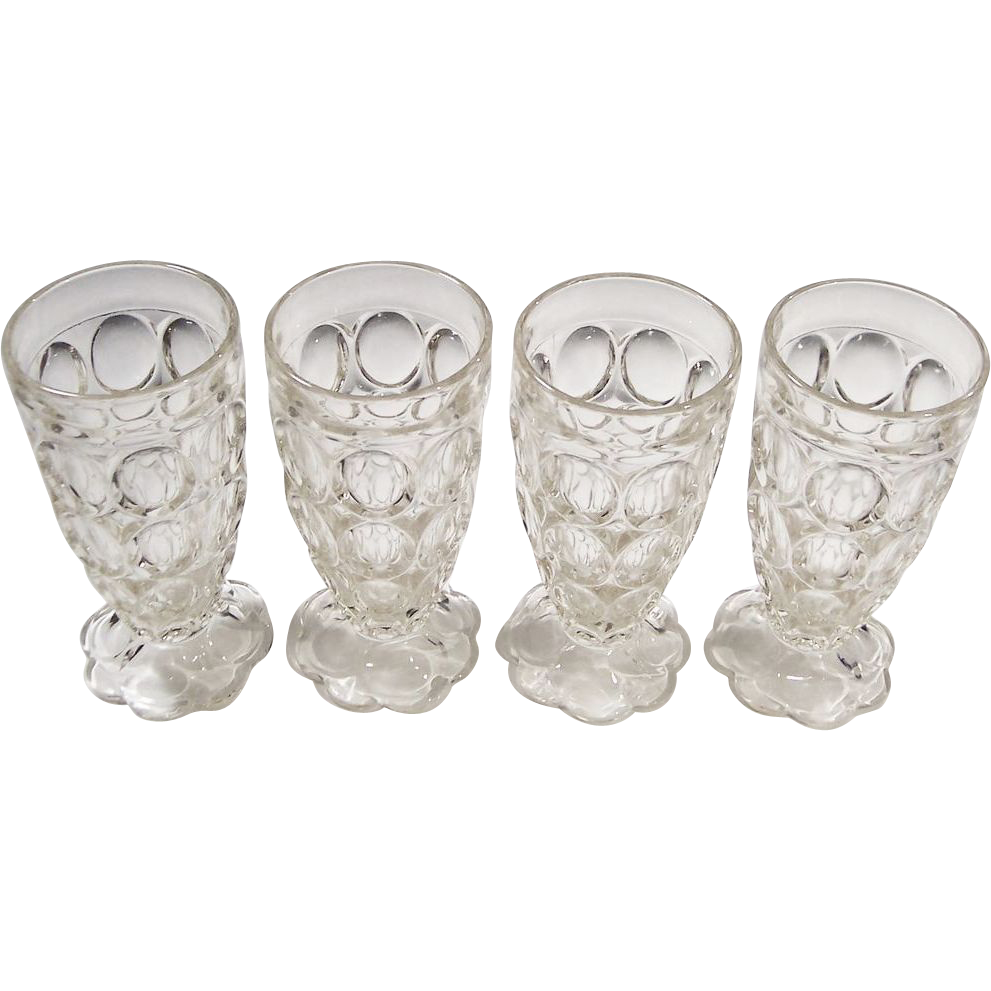 (4) Jeannette Glass Thumbprint Tumblers Petal Base
