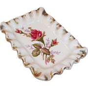 Ruffled Edge Moss Rose Pin / Trinket Tray