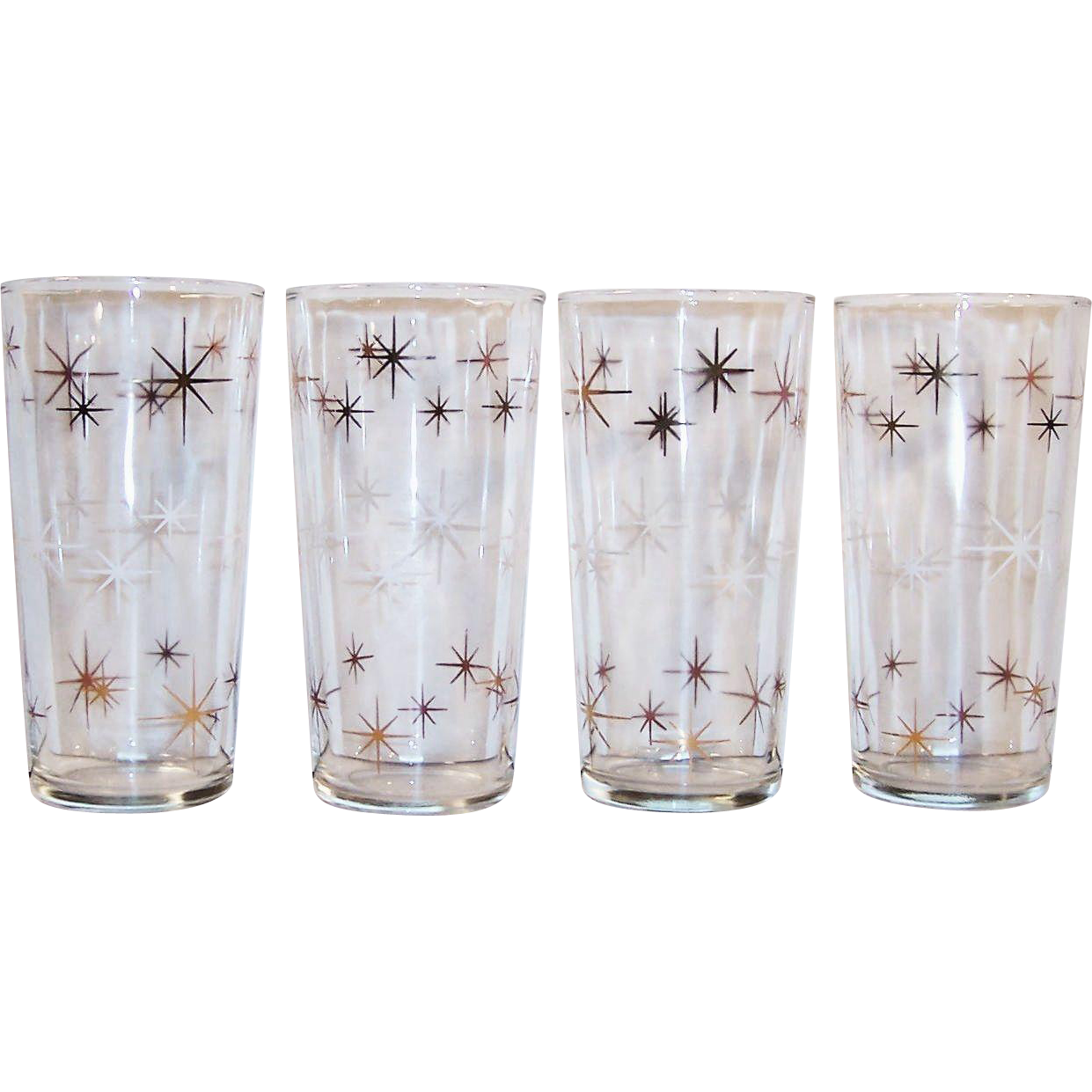 Atomic Gold & White Star Burst Drinking Glass Tumblers (Set of 4)