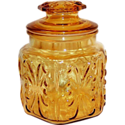 "1960's  Imperial Glass Atterbury Scroll Amber 6 1/2"" Canister Jar"