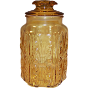 "1960's Imperial Glass Atterbury Scroll Amber 9"" Canister Jar"